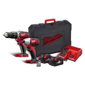 Milwaukee 18v Drill and impact driver twin pack £238.80 inc VAT @ Selco