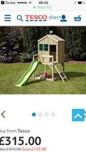 TP Playhouse with slide £315 + £7.95 Del @ Tesco Direct