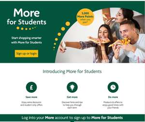 New Morrisons More for Students - including free 5000 points = free £5 voucher when you signup (no spend needed)