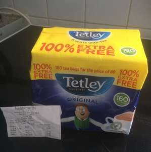 Tetley Tea Bags 160 for price of 80 - £2.49  Poundstretchers