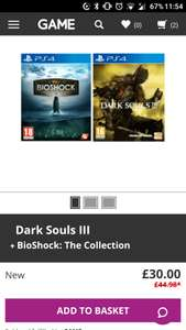 Bioshock The Collection and Dark Souls 3 PS4 pre owned. £30 from Game.