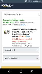 Nintendo 2DS with Mario kart (Used - Very Good) £55.82 @ Amazon Warehouse (with 25% off)