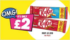 Kit Kat Original or Cookies and Cream (16 x 2) finger bars ONLY £2.00 @ Poundland (INSTORE ONLY)