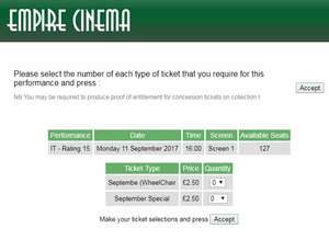 all tickets £2.50 during september @ Holyhead cinema