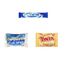 Twix, Mars and Milky Way fun size £2.50 each or 67p each when you buy 3 with £5 off 5 items @ amazon fresh