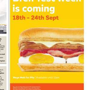 "Buy a 6"" mega melt for only 99p from 18th-24th sept @ Subway"
