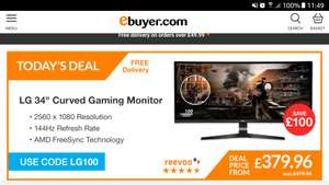 LG 34 Curved Gaming Monitor - £379.96 @ Ebuyer