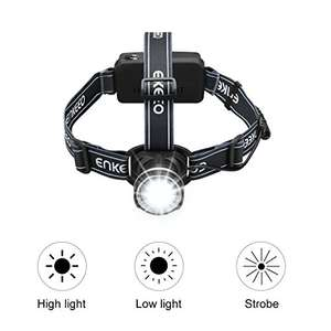 Enkeeo 350 Lumen Bright Headlamp Flashlight Zoomable 3 Modes up to 1000ft Beam with 2 x 2000mAh Rechargeable Batteries £4.99 @ Amazon Prime