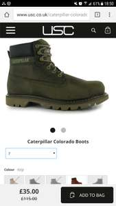 CAT Colorado Men's Boots size 7 left only (colour kelp) £39.99 delivered @ USC