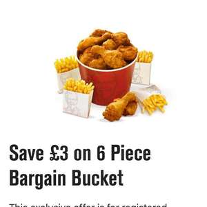 £3 off on 6 piece bargain bucket for colonels club members @ KFC