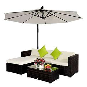 Outsunny Rattan Wicker Furniture Corner Sofa Set without Parasol - Brown - £279.99 via Amazon (sold by MHStar)