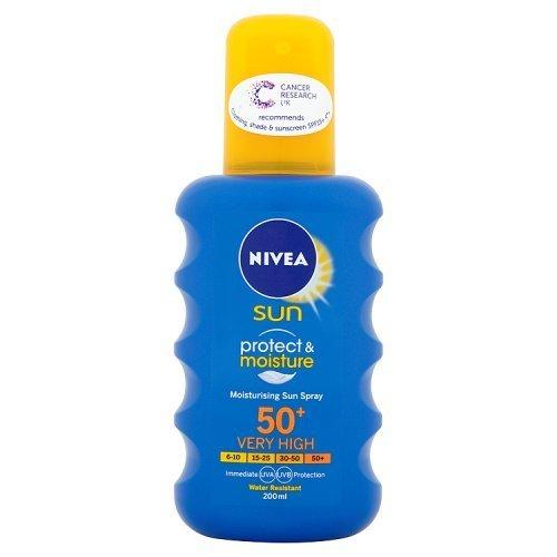 Nivea Sun Protect and Moisture Moisturising Sun Spray High SPF 50 - 200 ml - £4.25 (Prime) / £8.24 (non Prime) at Amazon