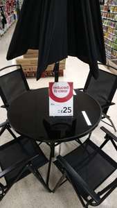 Garden Dining Set - 4 Chairs, Patio Table, Parasol - £25 at Wilko