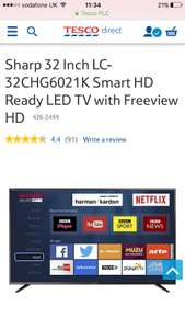Sharp 32 Inch LC-32CHG6021K Smart tv £144 with code from Tesco direct