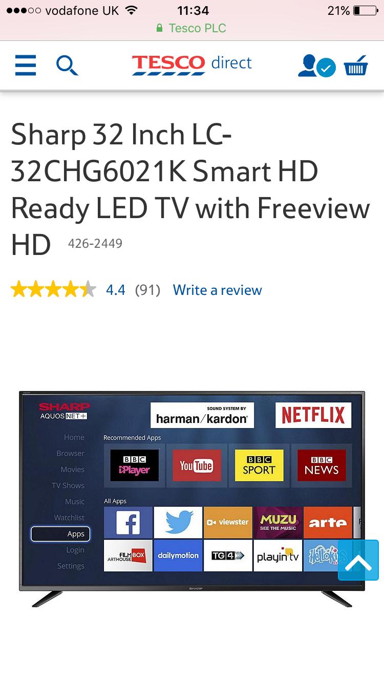 sharp 32 inch smart tv. sharp 32 inch lc-32chg6021k smart tv £144 with code from tesco direct