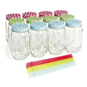 12 pack of 500ml mason drinking jars with lids and straws (free c&c) £4 in Wilko
