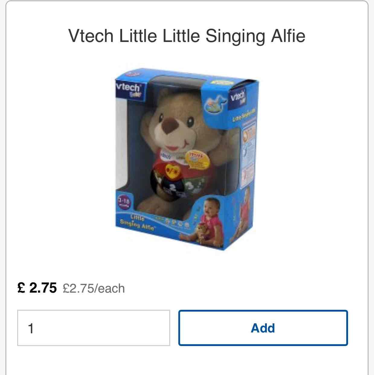 Vtech Little Singing Alfie £2.75 @ Tesco - (Conley hatch lane) / Online