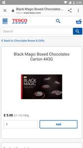 Large box of Black Magic chocs £5 at Tesco