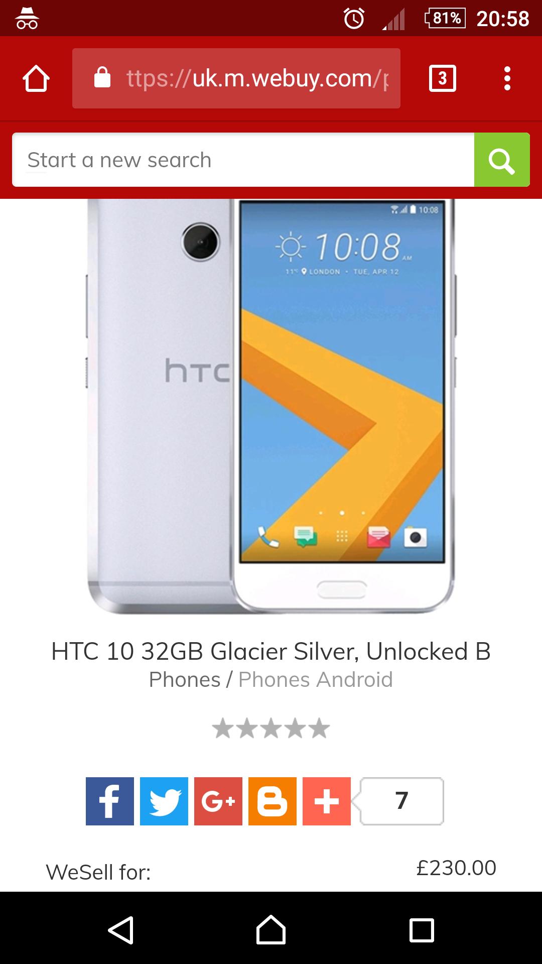 HTC 10 Unlocked B - £230 @ CEX