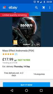 Mass Effect Andromeda (PS4) @ Boomerang eBay Store £17.99 (Like New)