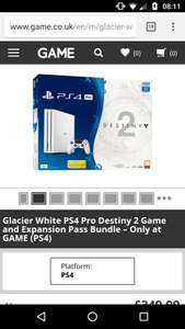 Glacier White PS4 Pro Destiny 2 Game and Expansion Pass Bundle £349.99 - GAME