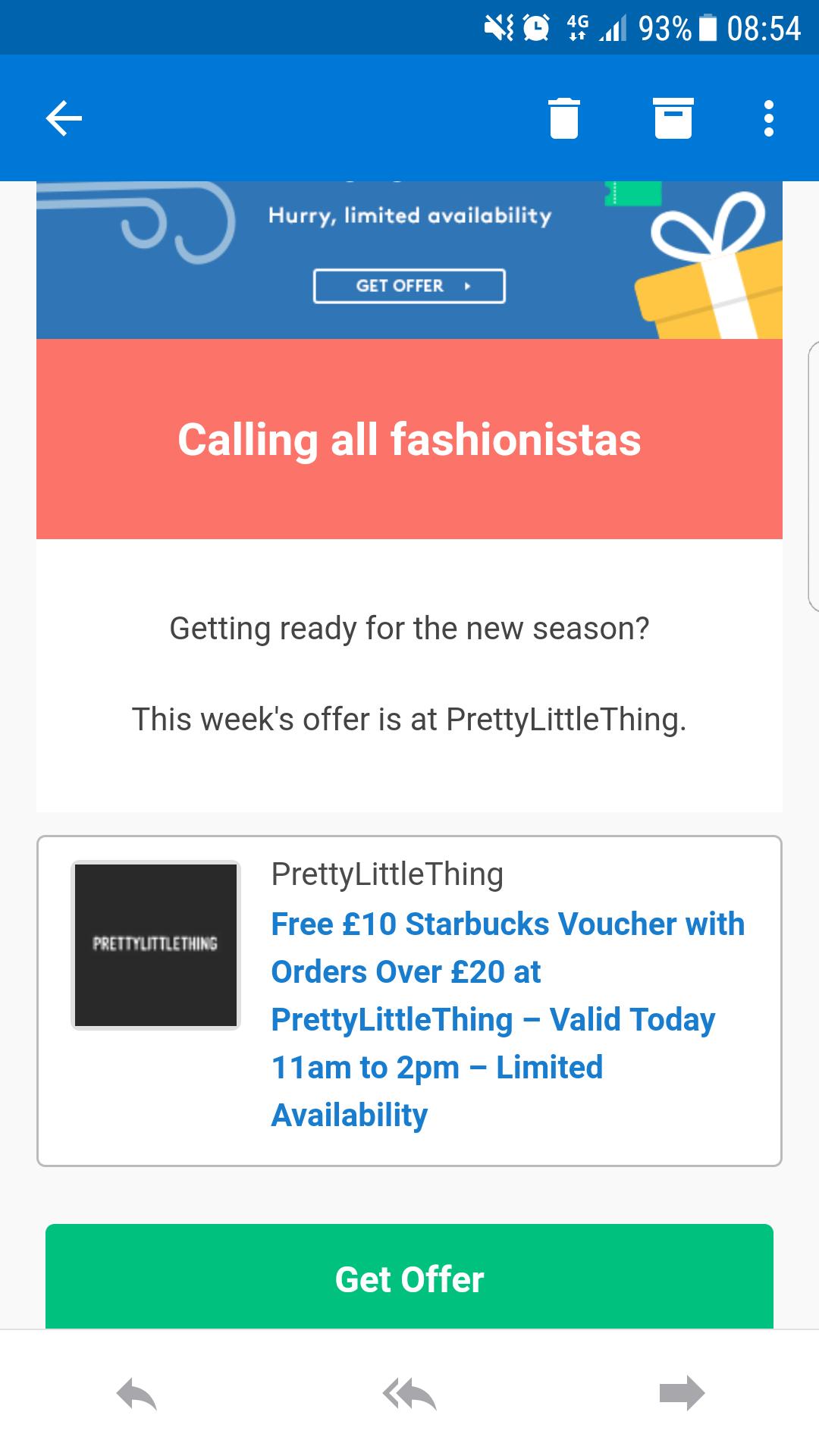 Voucher codes spend £20 @ prettylittlething and get a £10 Starbucks voucher