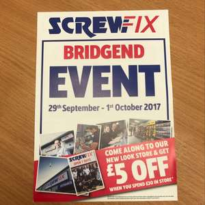 £5 off £30 spend in Bridgend screwfix