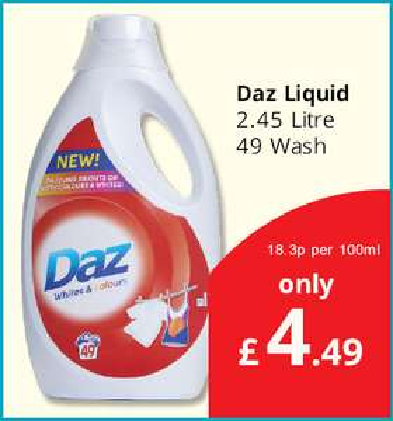 Daz Liquid 49 wash £4.49 at Savers