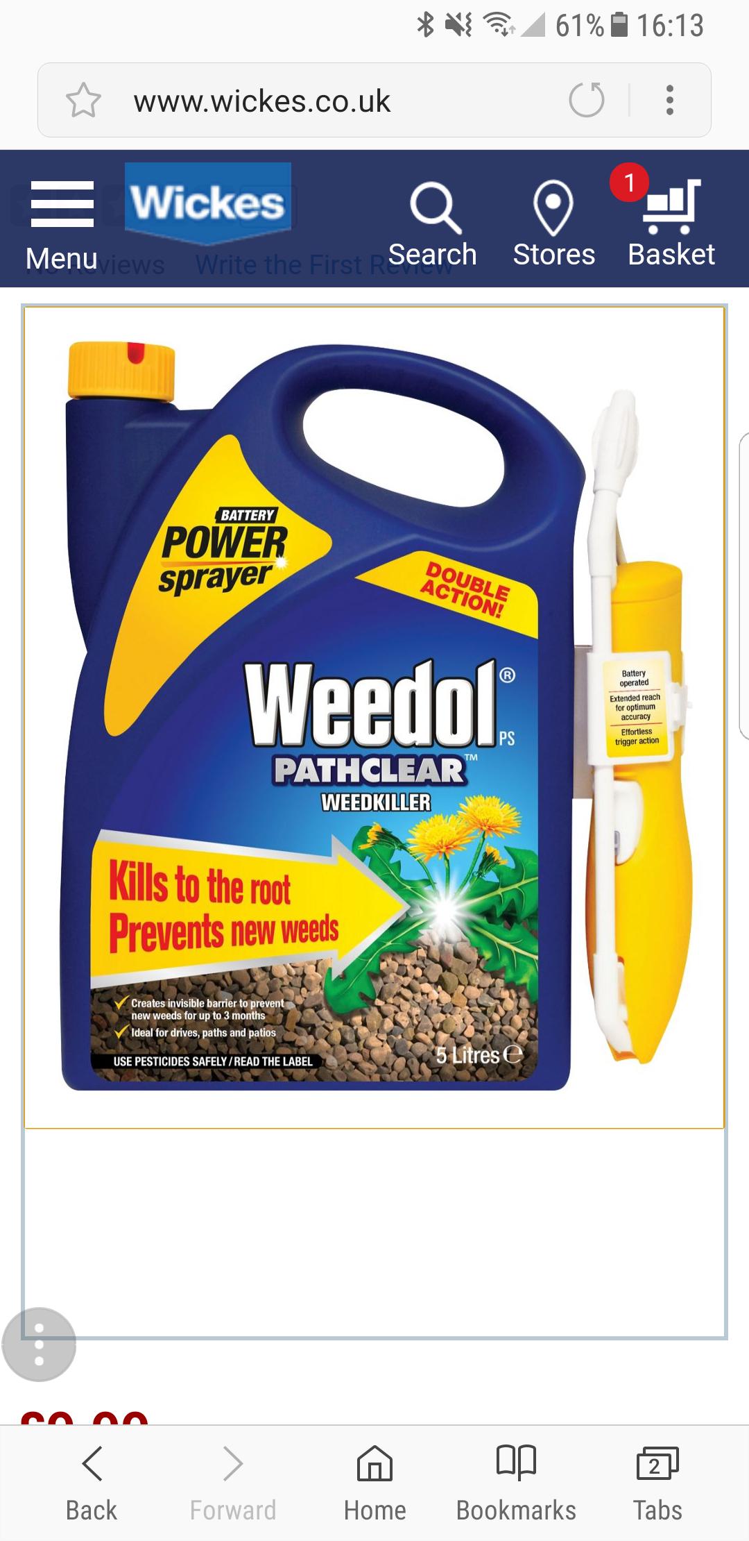 Weedol 5l weedkiller £9.99 @ Wickes