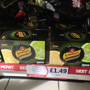 Schweppes lemonade & elderflower sparkling juice drink 6*330ml £1.49 in Heron