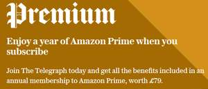 Telegraph premium subscription (£100 for 12 months) with free Amazon Prime
