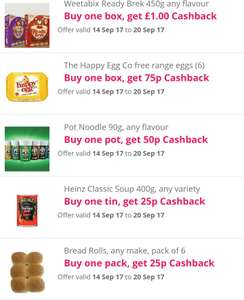 Snap&save offers from Topcashback (free Pot Noodles, free Weetabix Ready Brek etc)