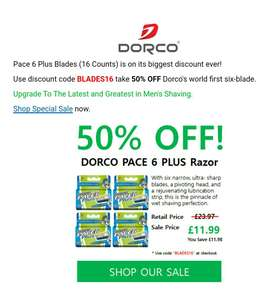 DORCO PACE 6 PLUS Razor £23.97 - £11.99 with code - Sold by Razors by Dorco and Fulfilled by Amazon