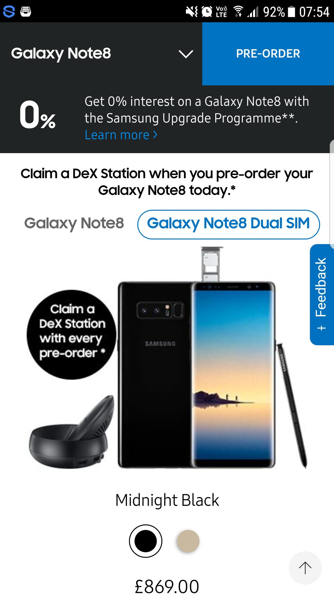 Note 8 Dual SIM same price as single SIM from Samsung UK web site - £869
