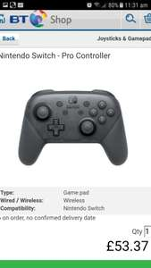 Nintendo Switch Pro Controller ~ Black at BT SHOP (Online) - £53.37 Delivered