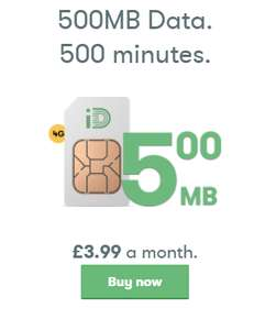 iD Mobile 1 month -  500 mins, 5,000 texts, 500MB 4g data (good for low users)