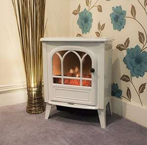 1800W Electric Fireplace Heater Fire Place Stove Fan Log Burning Flame Effect - White £55.99 @ 365-online_shopping / Ebay