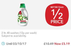 Ariel Biological Laundry Liquid - 40 Washes (2L) was £10.49 now £5.19 @ Co-op Food Stores