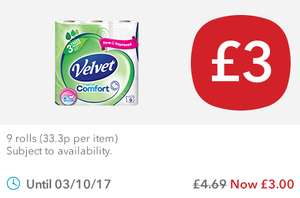 Velvet Comfort Toilet Tissue (9 Rolls) was £4.69 now £3.00 @ Co-op Food Stores