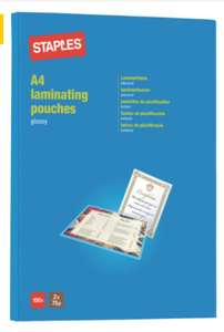 100 A4 Laminating Pouches £3.49 / £6.97 delivered at Staples online