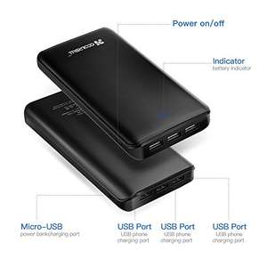 Power Bank 20000mAh 3 USB, Coolreall Compact Portable Charger Ultra High Capacity £18.88 (Prime) / £22.87 (non-Prime) @ Amazon (seller: coolreall)