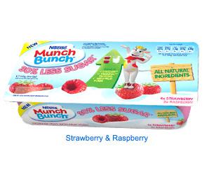 Muller Munch Bunch 6pk 30% less sugar raspberry and strawberry 39p in Heron Hull