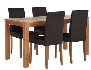 Newton Solid Wood Table & 4 Mid Back Chairs (Black/Chocolate /Cream) £134.94 delivered @ Argos