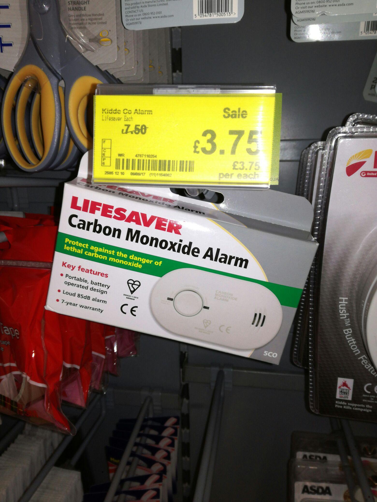Kidde Carbon Monoxide Alarm half price £3.75 in Asda.  5 year smoke alarms also reduced to £6.00