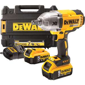 "DeWalt DCF899P2-GB IMPACT WRENCH 1/2"" SQUARE DRIVE 18VOLT XR BRUSHLESS WITH 2x5AMP-HOUR LI-ION BATTERIES & KITBOX - £329.99 @ Cromwell"