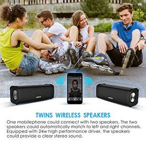 Pair of 12W Speakers for 24W stereo sound with Bluetooth and water resistance. £49.99 by LONGXIN IND and Fulfilled by Amazon