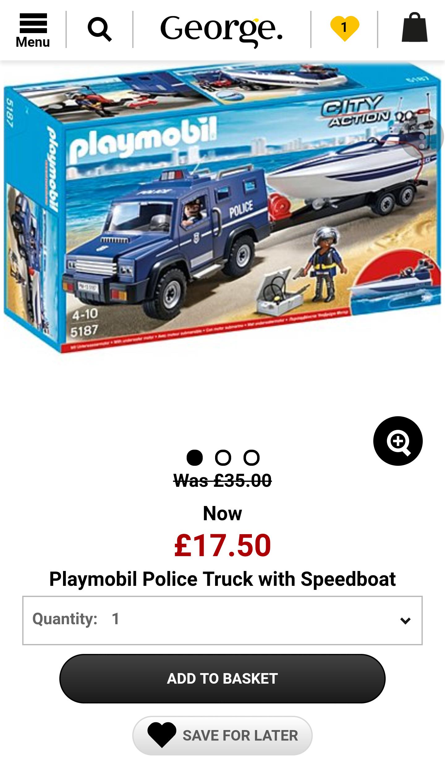 Playmobil police truck with speedboat - £17.50 @ Asda George (C&C)