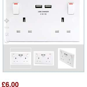 Double USB wall socket £6 @ Wickes