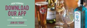 Download Ember Inns App for a free drink, G+T, beer pint, wine or soft drink