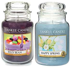 Official Yankee Candle Set Of 2 Large Jars Jelly Bean & Happy Spring Gift Set Sold by My Swift and Fulfilled by Amazon for £19.99 delivered